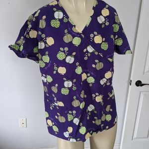 Scrub top - uniform apple a day shirt
